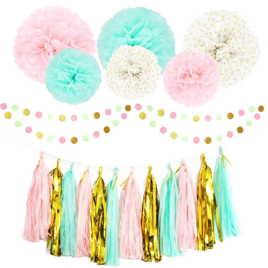 Party Decoration Kit 20 Pcs Mint Peach Glitter Gold Tissue Paper Pom Poms Flower Tissue Paper Hanging Tassels Polka Dot Paper Garlands for Baby Shower Wedding Nursery Bridal Shower Volare-HK