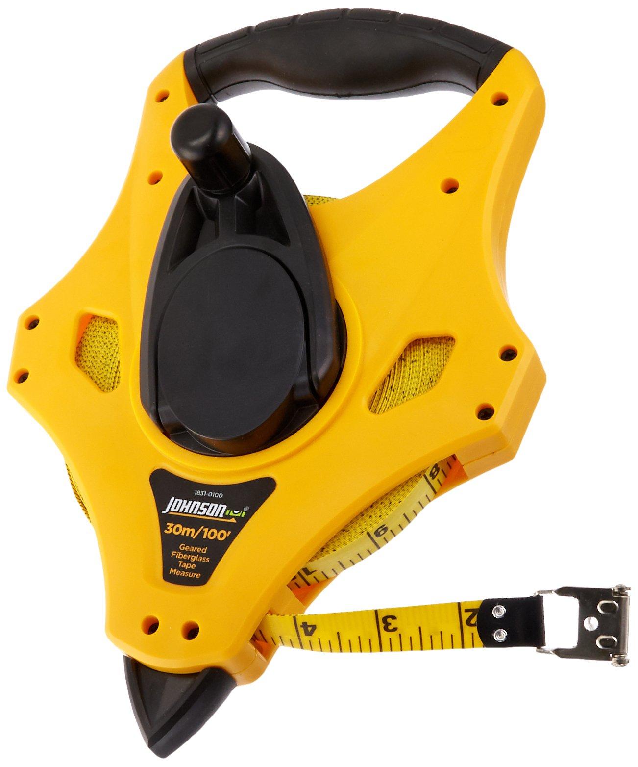 Johnson Level & Tool 1831-0100 Long Tape Measure Geared Metric, 100-Feet