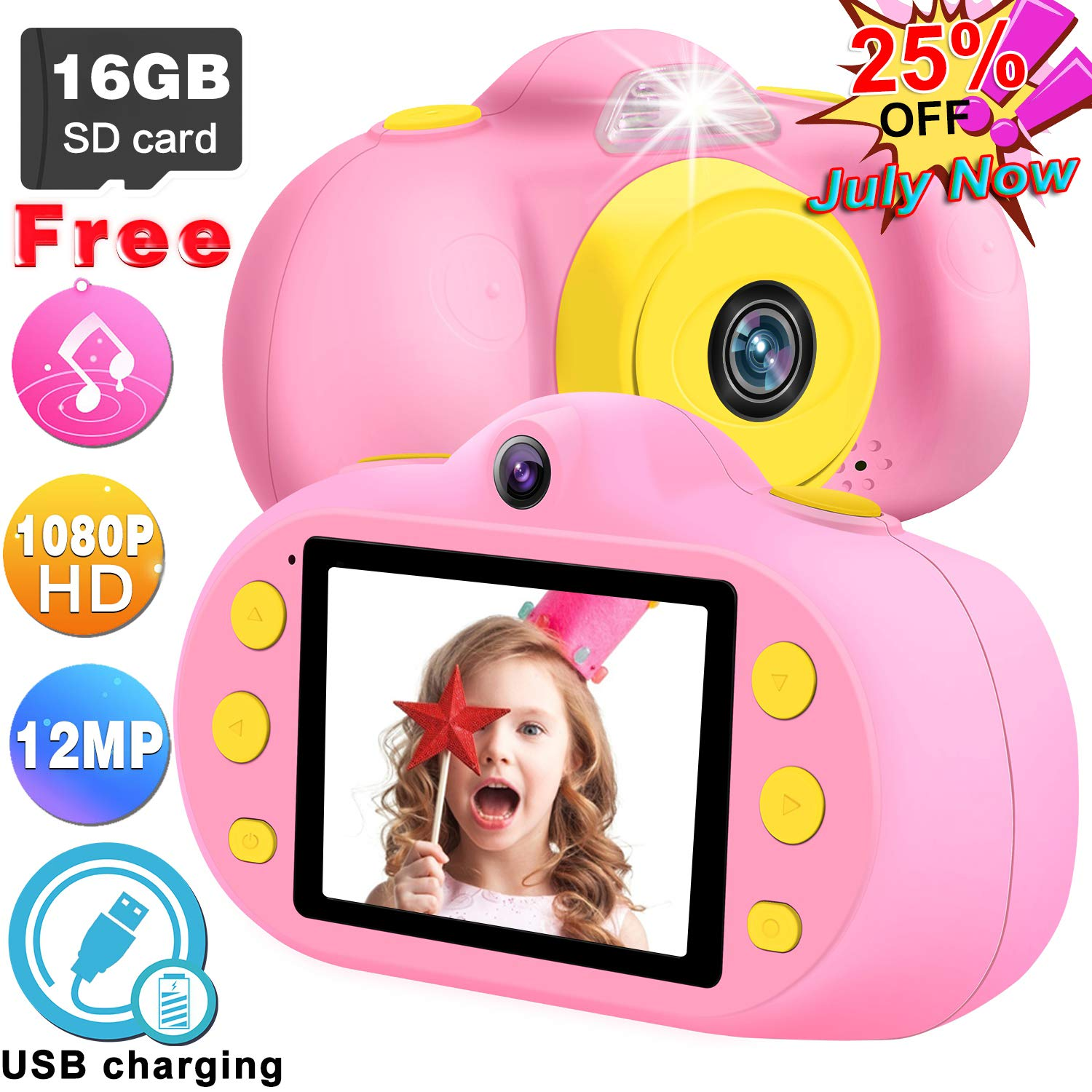 GBD [NEW] Kids Camera Toys for Boys Girls,12MP HD 1080P Selfie Video Camera with MP3 Player Games DUAL Lens, 2.4'' Digital Camcorder Recorder Back to School Birthday Gift,(Free 16GB Memory Card) (Pink) by GBD (Image #1)