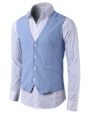 H2H Mens Basic Cool Linen Vest with Point 4 White Buttons