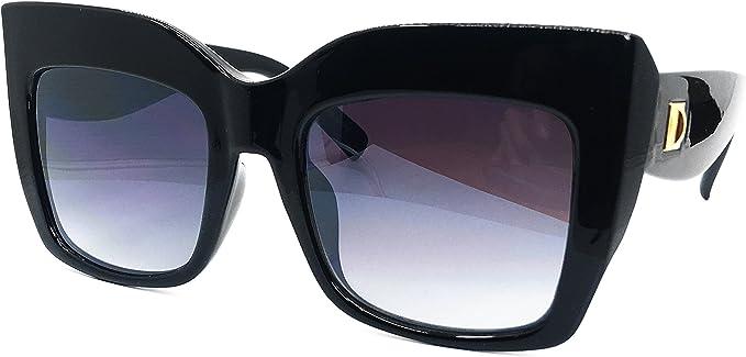 Vintage Shadow Designer Cat Eye Thick Frame Oversized Women Gradient Sunglasses