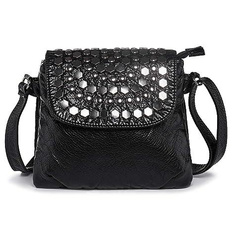 d89922eecbae Small Handbag for Ladies Elegant Rivets Cross Body Shoulder Bag Messenger  Travel Purse with Many Pockets