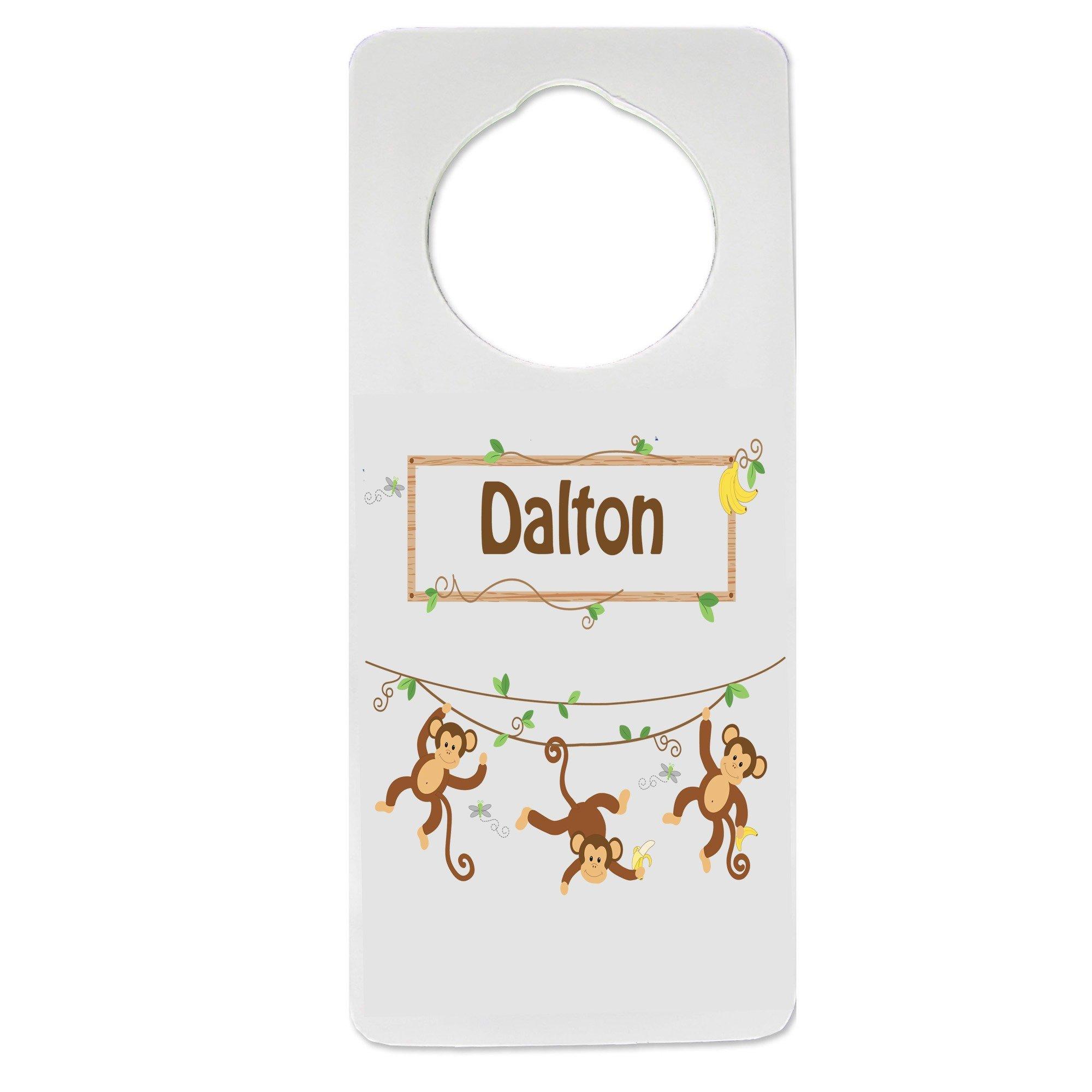 Personalized Monkey Boy Nursery Door Hanger