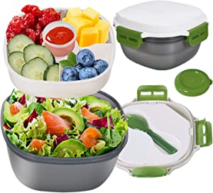 Fresh Salad Lunch Container with Built-In Detachable Ice Pack to Keep Fresh, 41 oz Salad Bowl and 4 Compartments Tray for Salad, Toppings and Snacks, 1.3 oz Sauce Container for Dressings
