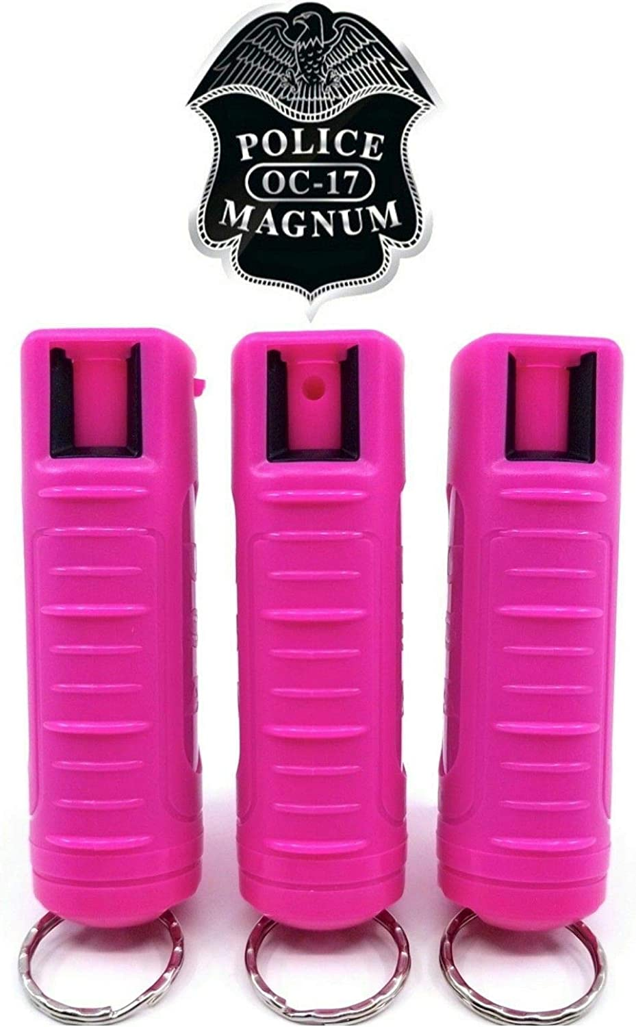 POLICE MAGNUM OC-17 3 Pack 1/2oz Pepper Spray Keychain For Women Self Defense- HOT PINK Molded Keychain