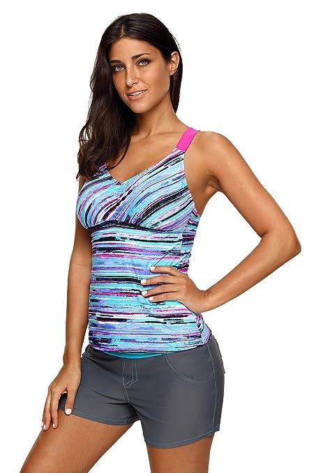68f26e32083 Ruofei Women s V Neck Fuzzy Floral Printed Stripes Strappy Back Tankini  Swim Top Swimwear No Bottom at Amazon Women s Clothing store