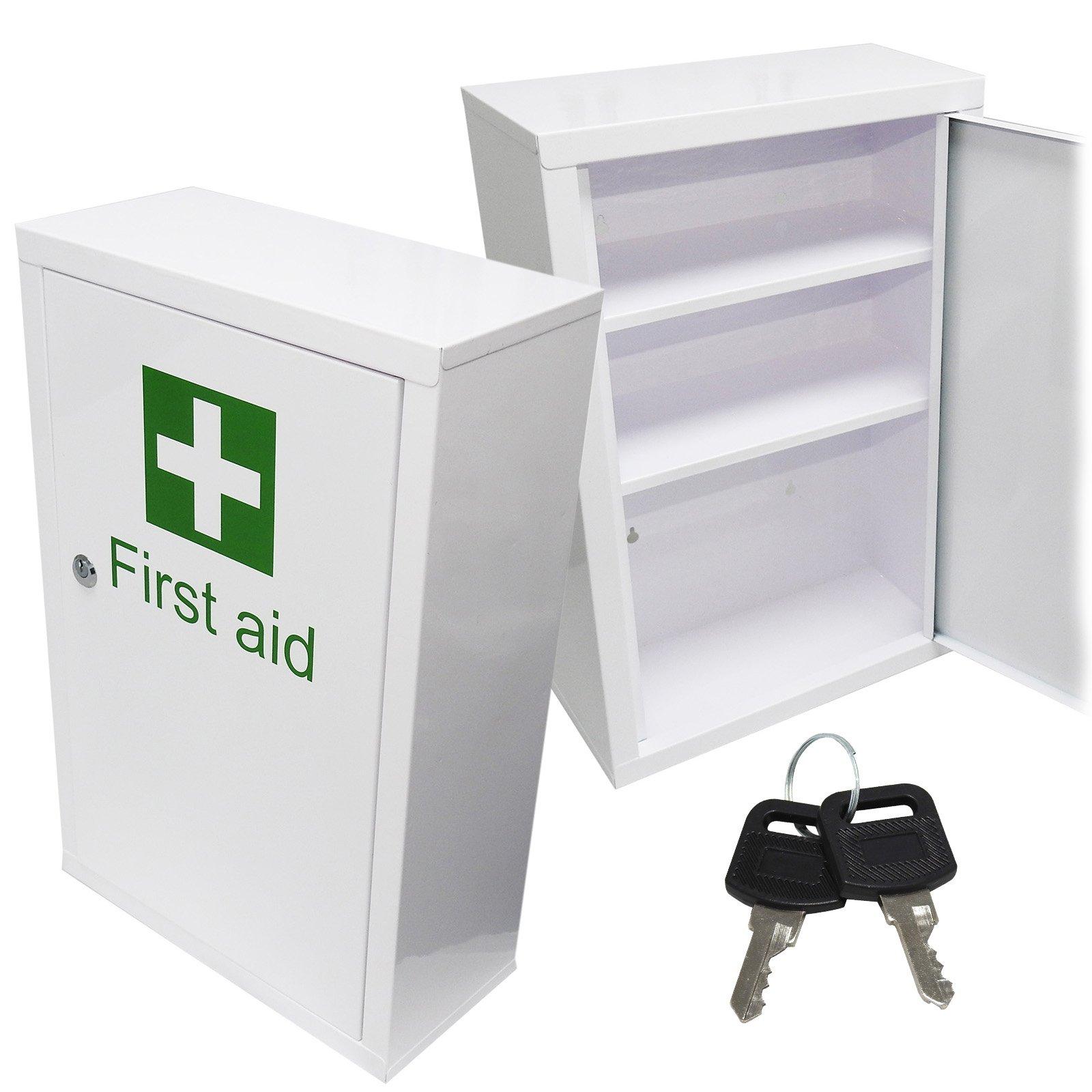 Qualicare Large Medicine First Aid Medical Wall Mount Cabinet Cupboard Locker Plus Keys, 1 kg