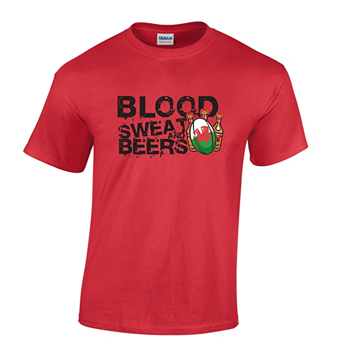 d4f923dbefb Tim And Ted Blood Sweat Beers Wales Novelty Printed Rugby Design Sports  Work Relax TV Slogan Art Ball Team Mens T-Shirt Cool Funny Gift Present