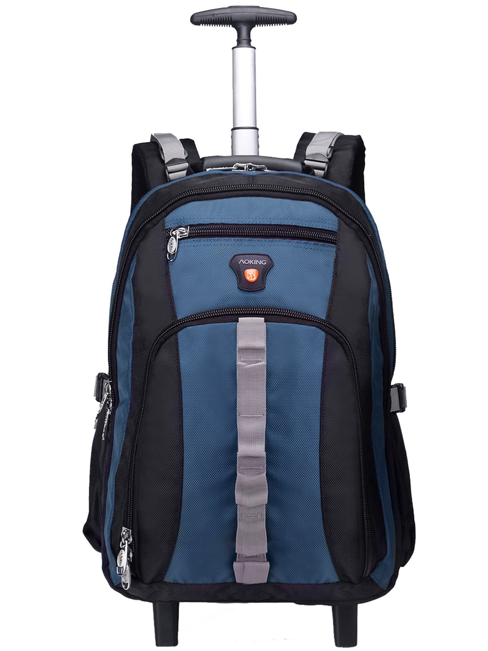 AOKING 20/22 Inch Water Resistant Travel School Business Rolling Wheeled Backpack with Laptop Compartment Lake Blue 20''