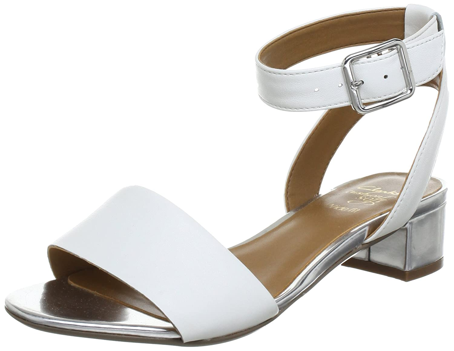04d29281b08a9d Clarks Womens Sharna Balcony White Combi Leather 6 UK  Amazon.co.uk  Shoes    Bags