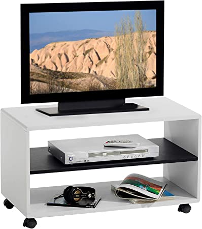 IDIMEX TV de Muebles de TV Rack Mueble bajo Mesa de televisión de TV Mesa de TV Element Atlanta, Color Blanco – Negro, con Ruedas: Amazon.es: Juguetes y juegos