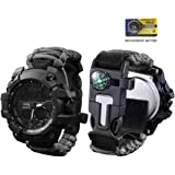 vikano Survival Bracelet Watch, Men & Women Emergency Survival Watch with Paracord/Whistle/Fire Starter/Scraper/Compass…