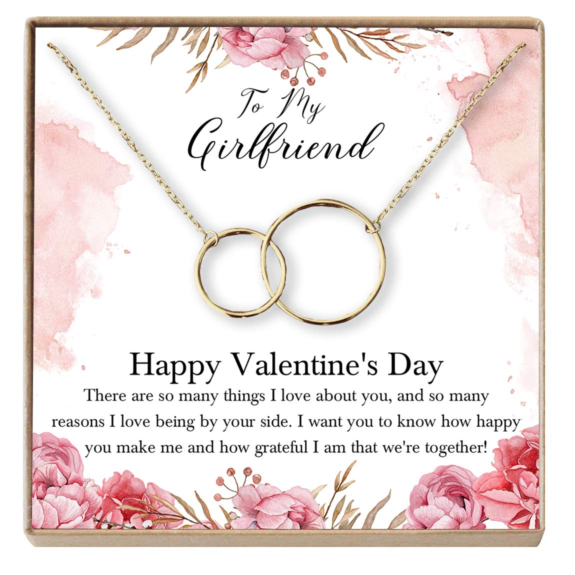 2 Interlocking Circles Anniversary Dear Ava for Girlfriend Necklace Valentines Day