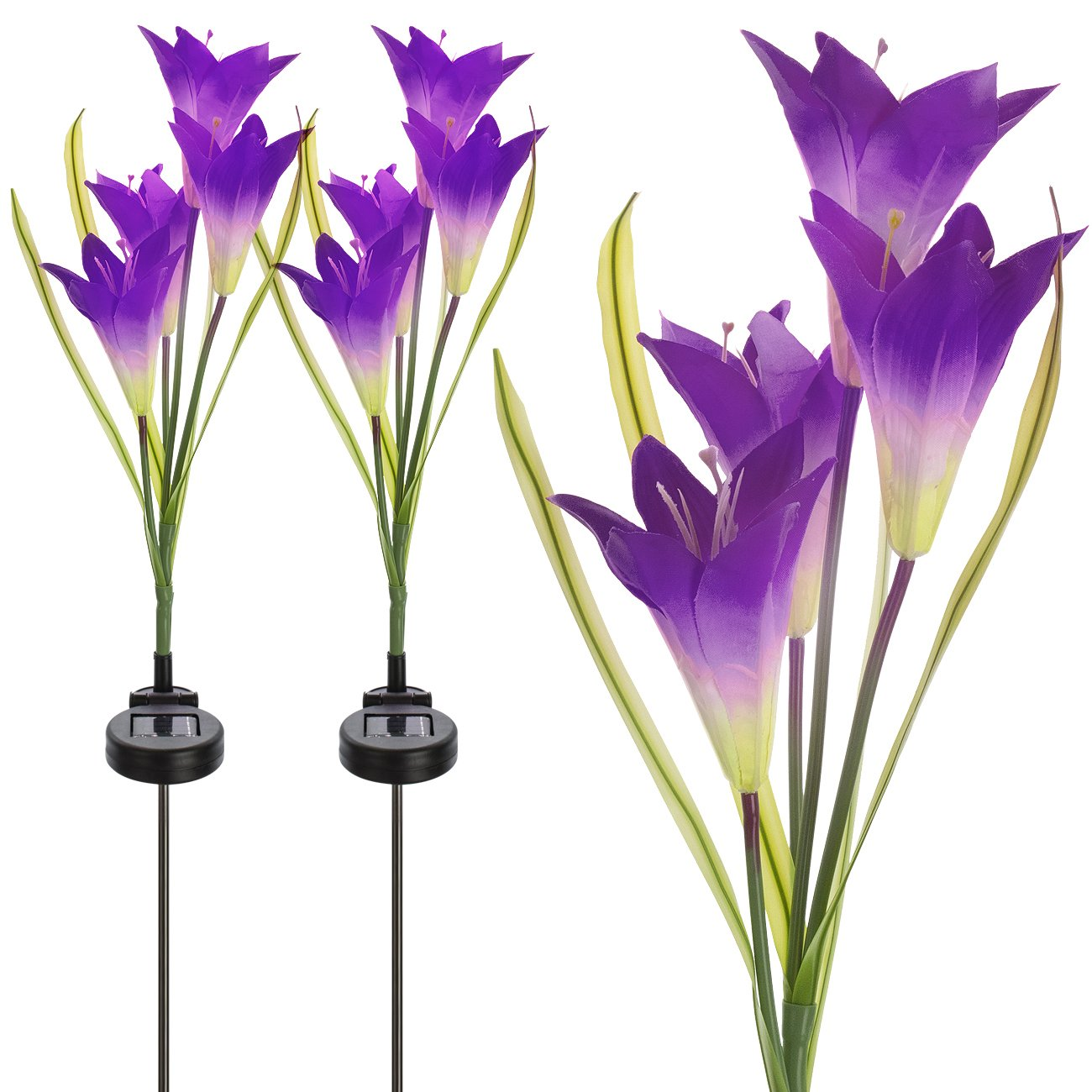 Sorbus Solar Light Flower Lily Stakes, Outdoor LED Garden Flowers for Night Lighting, Solar Path Walkway, Lawn, Garden, Pond, Patio, Gravestones, Special Occasions, etc (2-Pack,Purple)