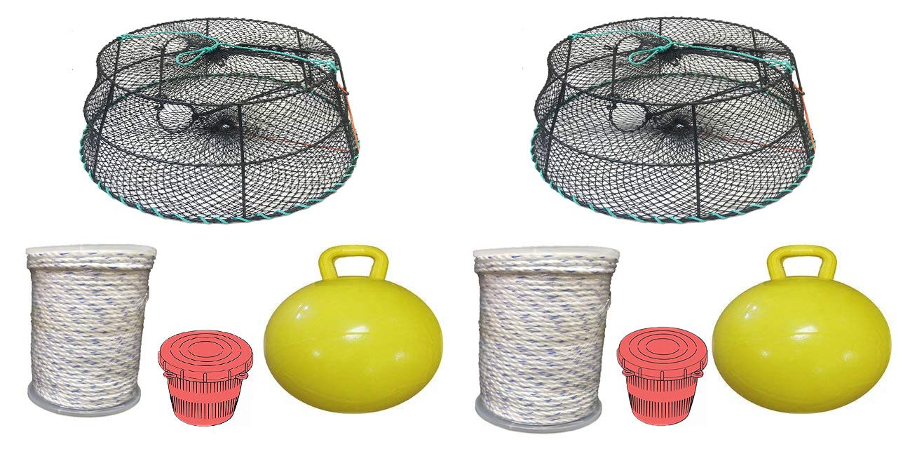 KUFA Sports 2-Pack Vinyl Coated Tower Style Prawn Trap with Prawn Trap Accessory Combo-(CT79+PAM5) X2