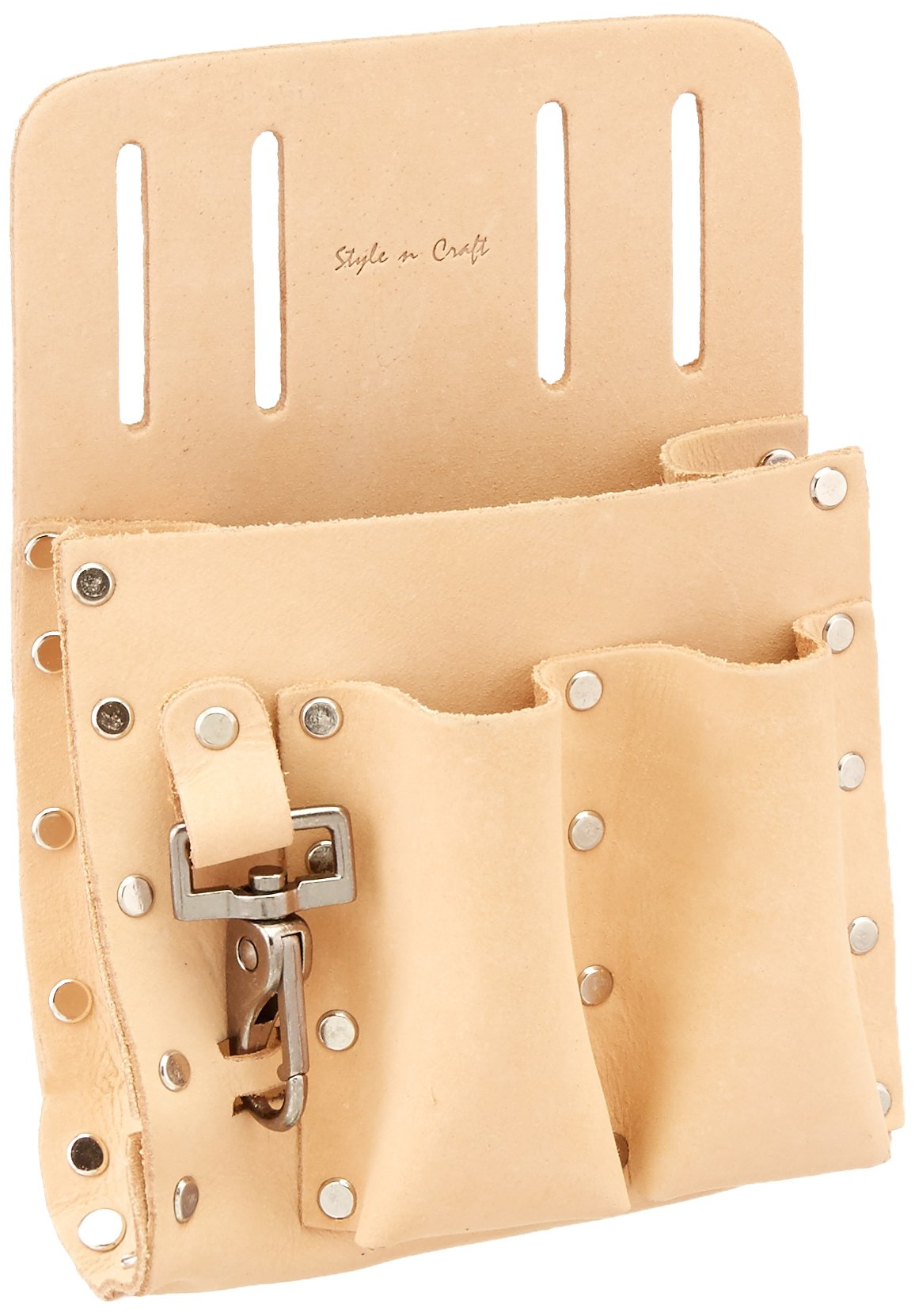 Style n Craft 94-126 5 Pocket Tool Pouch in Heavy Top Grain Leather