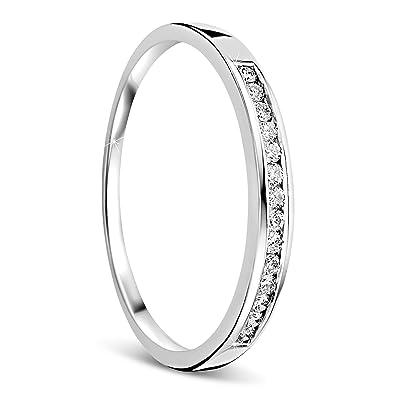 cd8816bf864a Orovi anillo de mujer compromiso aniversario 0.10 Quilates diamantes en oro  blanco 18 kilates ley 750  Amazon.es  Joyería