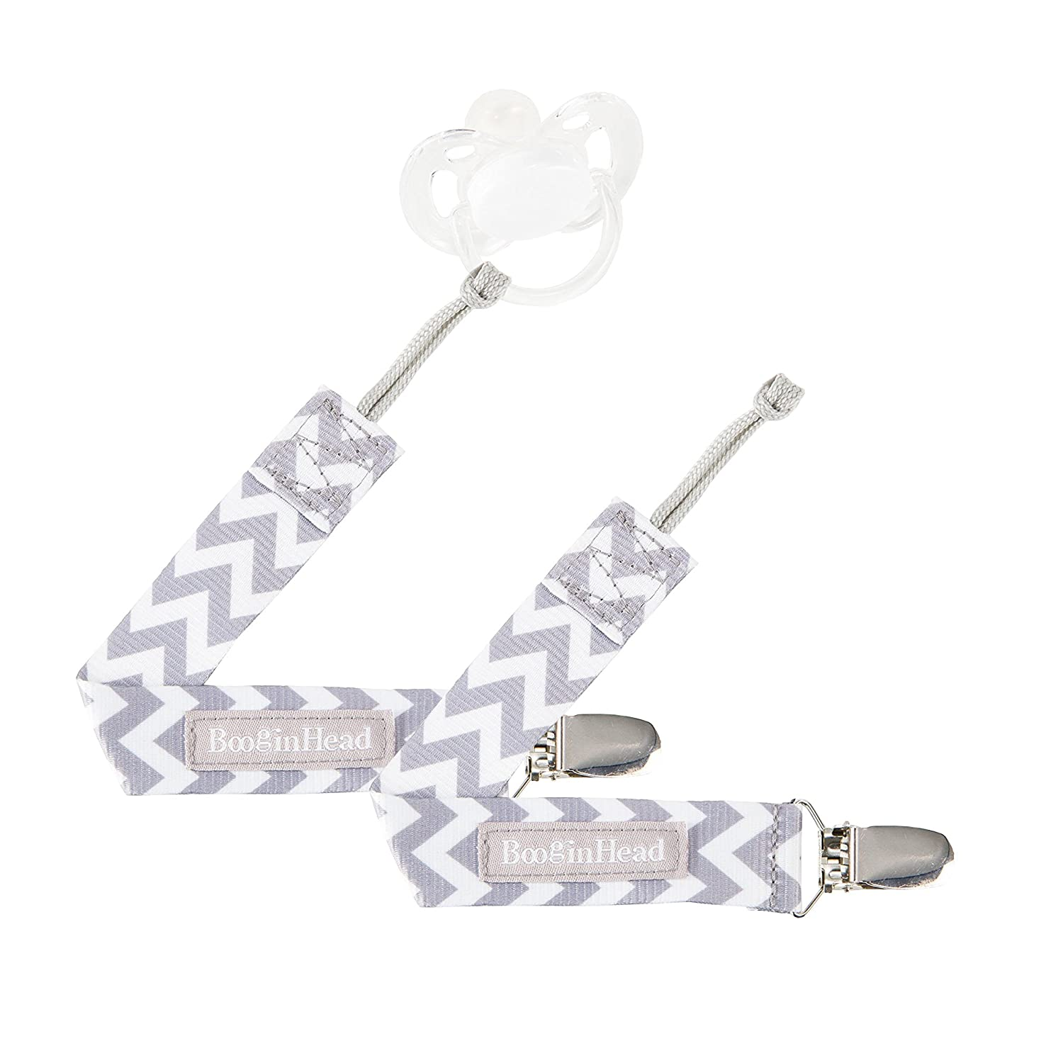 BooginHead Baby Newborn PaciGrip Pacifier Clip, Holder, Toy, Teether, Soothie, Universal Loop Girl, Boy, Gray Chevron, 2 Pack