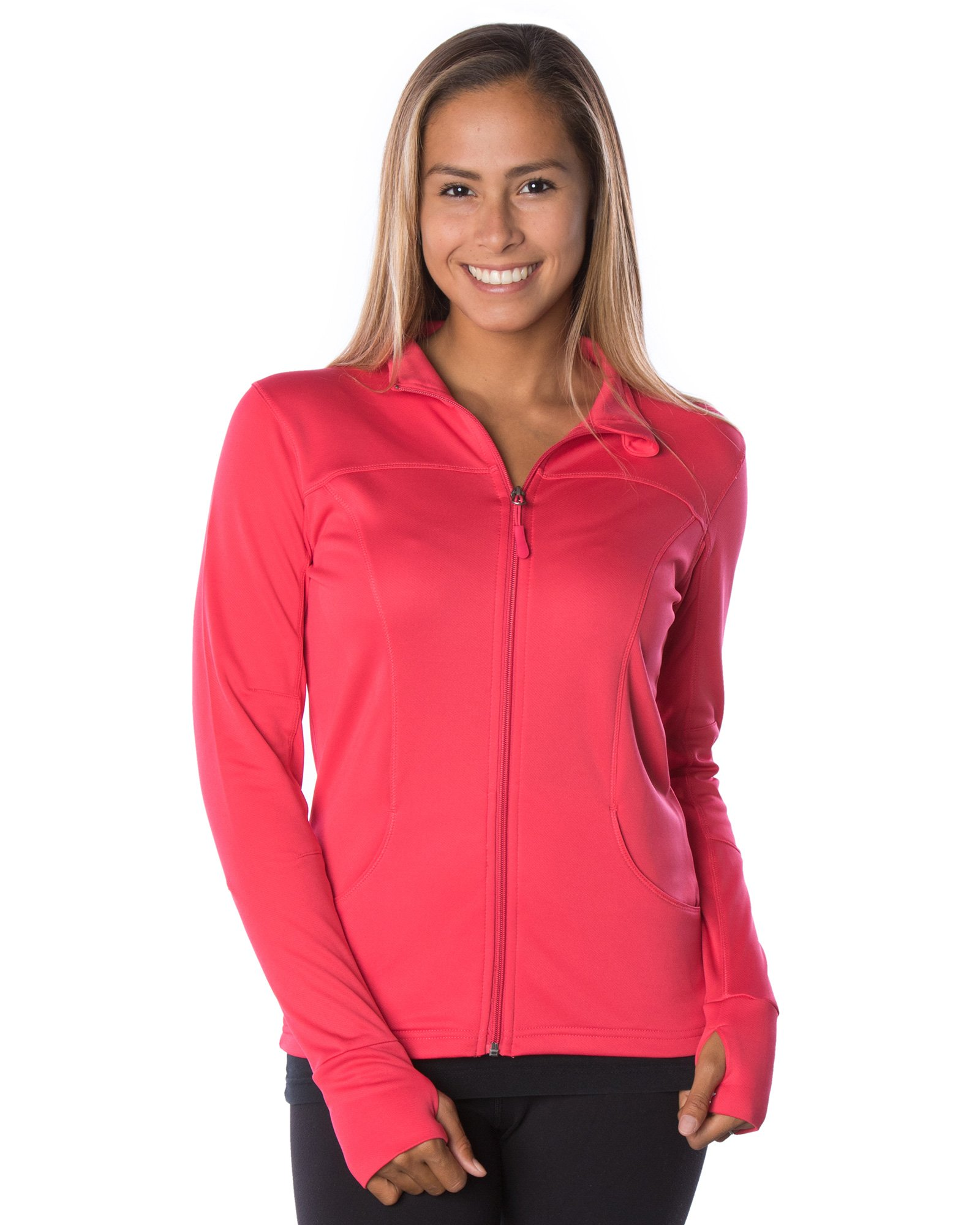 Global Women's Slim Fit Lightweight Full Zip Yoga Workout Jacket XL Coral
