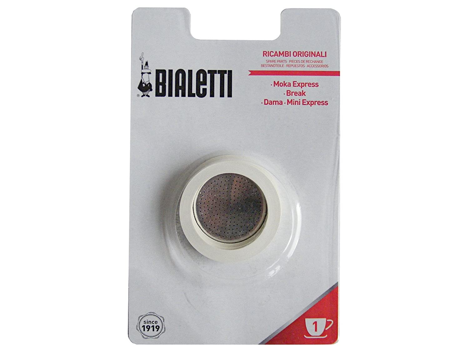 Bialetti Replacement Gaskets and Filter for 1 Cup Moka/Break / DAMA/Mini Express Espresso Makers 0800001
