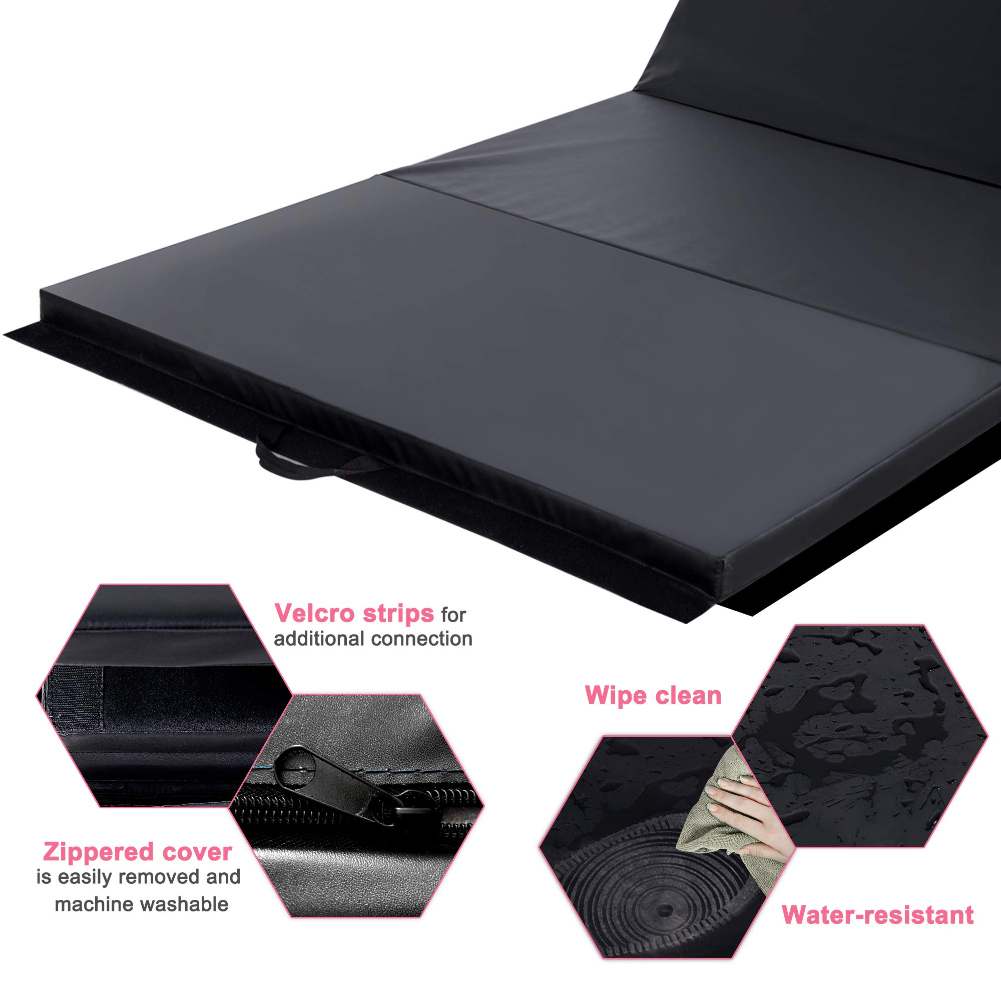 Homevibes 4' x 10' x 2'' Gymnastics Mat Thick Folding Panel Tumbling Mat Gym Exercise Aerobics Mat with Handle Compatibility with Stretching Yoga Cheerlanding Martial Arts, Black by Homevibes (Image #4)