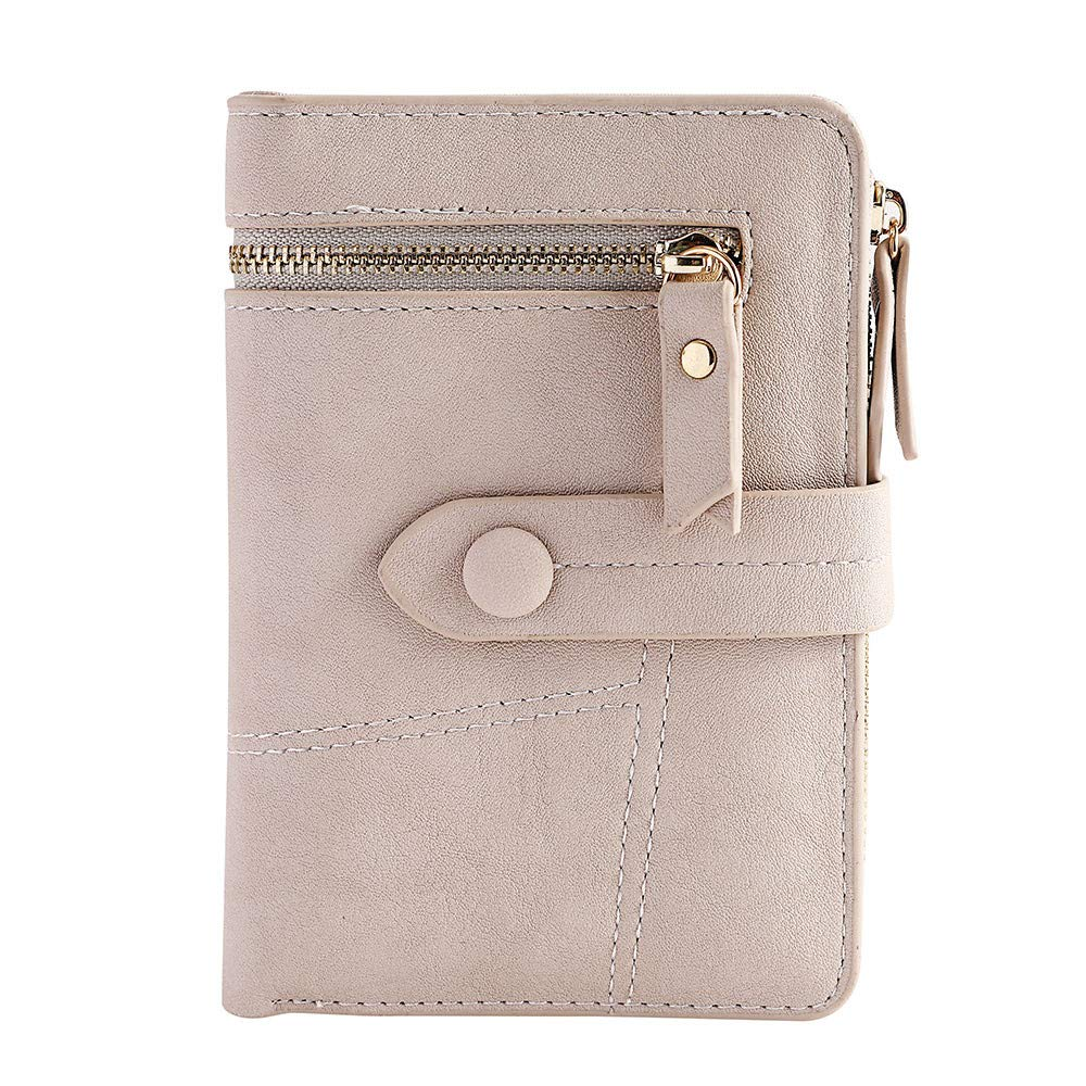 Clearance!Women Simple Retro Zipper Short Wallet Coin Purse Card Holders Handbag Card Holder Coin Purse (Beige)