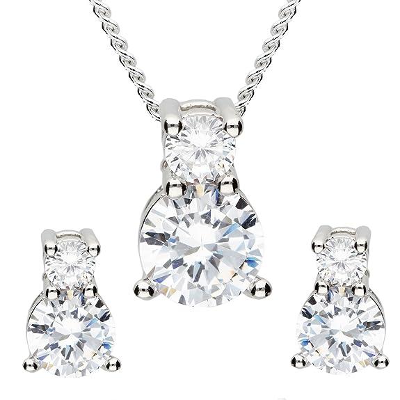 MYA art Damen Schmuckset Kette Ohrringe Hängend 925 Silber mit Zirkonia  Strass Kristall Stein Anhänger Halskette Ohrhänger Set Geschenke zum  Muttertag ... 3b2dbc0947