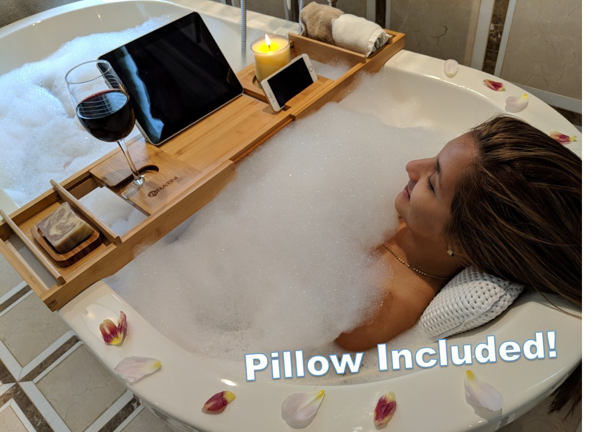 RATINI BATHTUB ESSENTIALS - Includes 2018 Expandable Bamboo Bathtub Caddy Tray + Mildew Resistant Suction Bath Pillow + Magic Tape Ratini Innovations