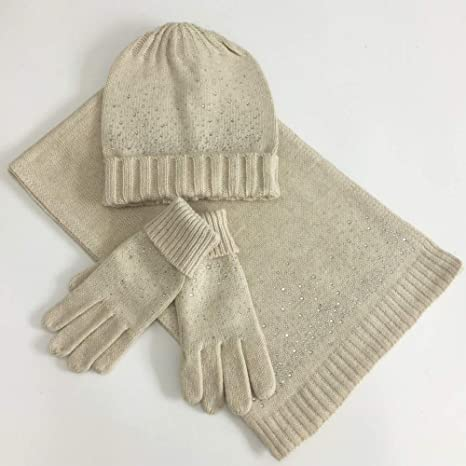 Warme Winterm/ütze Schal Handschuhe Set Strickm/ütze M/ädchen Jungen Beanie Hut Winter Warme M/ütze Babym/ütze Kinder runder Schal Handschuhe Set f/ür Kinder 3-8 Jahre