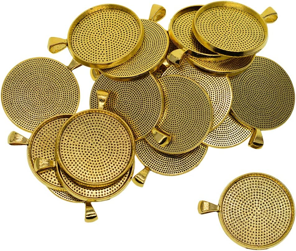 Bronze Prettyia 20pcs 30mm Round Blank Bezel Pendant Trays Base Cabochon Settings for Jewelry Making DIY Findings