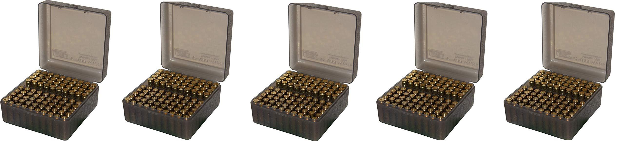 MTM 100 Round Flip-Top Rifle Ammo Box, Medium, Clear Smoke (Pack of 5)