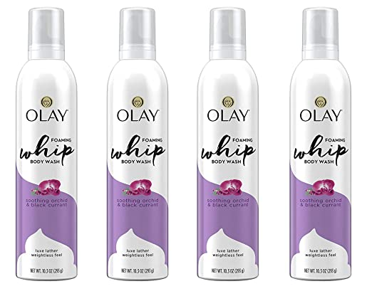 Olay Soothing Orchid & Black Currant Foaming Whip Body Wash, 10.3 Fl Oz (Pack of 4)
