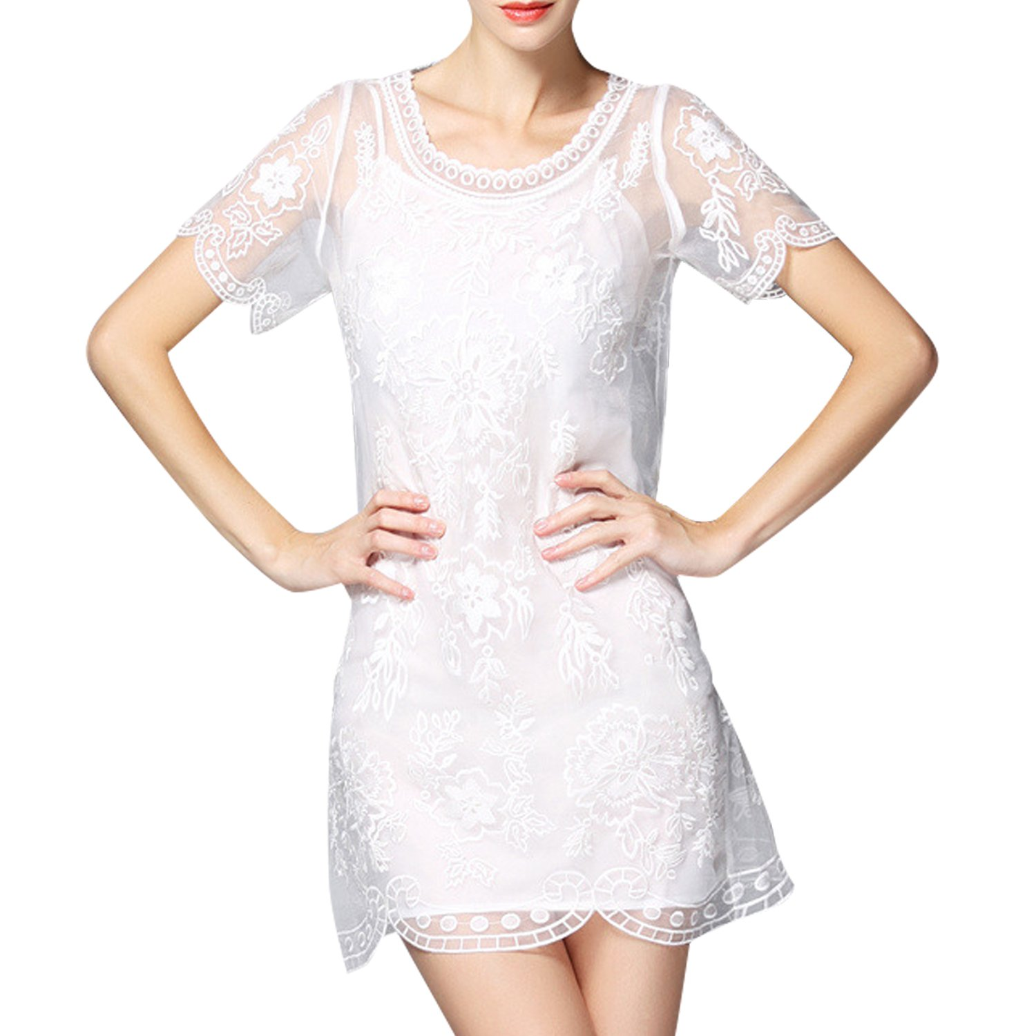 mlovew Womens See-Through Lace Up Short Dress