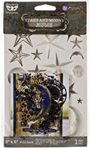 "Prima Marketing 966638 Finnabair Decor Moulds 5""X8""-Start & Moons"