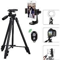 Kamera Stativ Smartphone Stativ mit Handy Halterung und Bluetooth Fernbedienung Handy Stativ für iPhone Samsung und Kamera