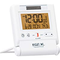 Marathon CL030036WH Atomic Travel Alarm Clock with Auto Back Light Feature in White, Batteries Included