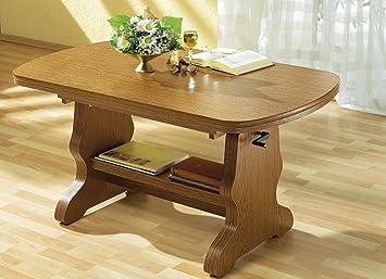 Couchtisch Eiche Rustikal Feste Platte Tisch Beistelltisch Wohnzimmertisch