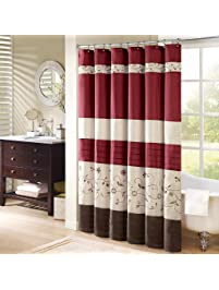 red and navy shower curtain. Madison Park  Serene Embroidred Shower Curtain Red 72 W X Curtains Amazon com