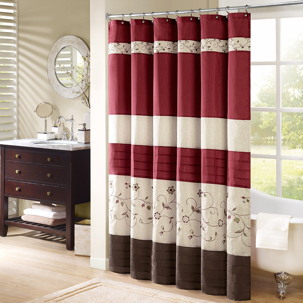 Amazon.com: Madison Park - Serene Embroidred Shower Curtain - Red ...