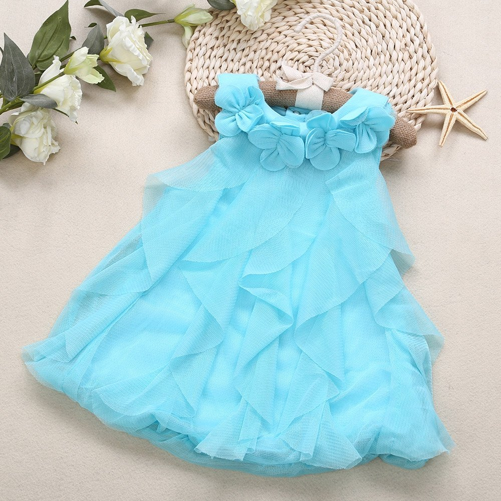 Baby//Infant//Toddler Cute Flower Sleeveless Breathable Pure Color Baby Girls Dress