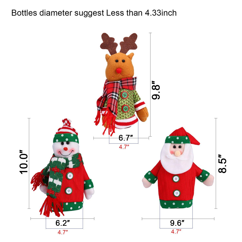 Konsait 3pcs Ugly Sweater Navidad Botella de Vino Cubierta Bolsas ...