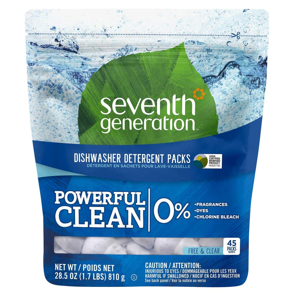 Seventh Generation Auto Dish Cleaner Packs Free and Clear