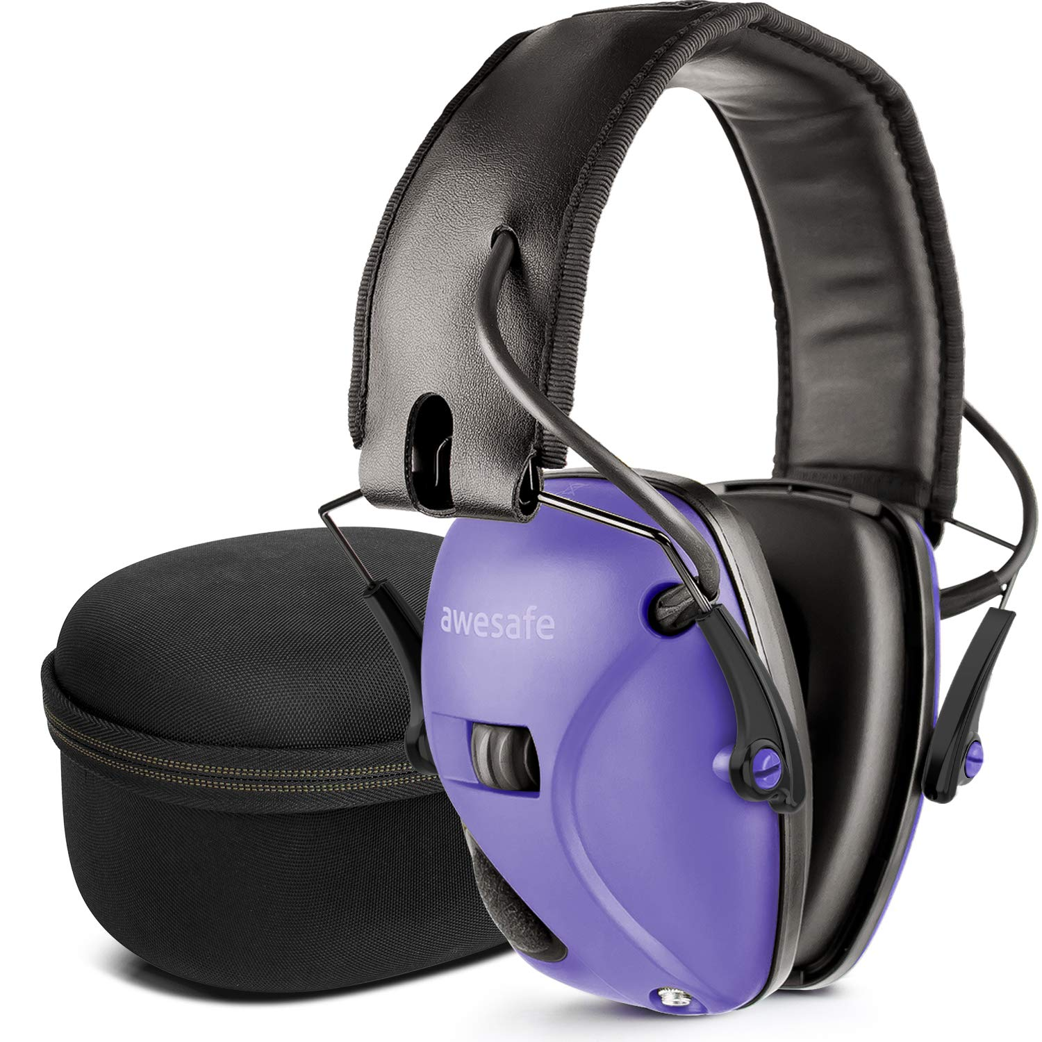 awesafe Electronic Shooting Earmuff, Noise Reduction Sound Amplification Electronic Safety Ear Muffs and Storage Case, Purple ...