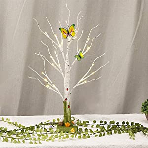 Vanthylit Pre-lit 2FT Birch Tree Light with Timer Green Centerpiece Decoration Tabletop Tree for Indoor Home Wedding Holiday Decor