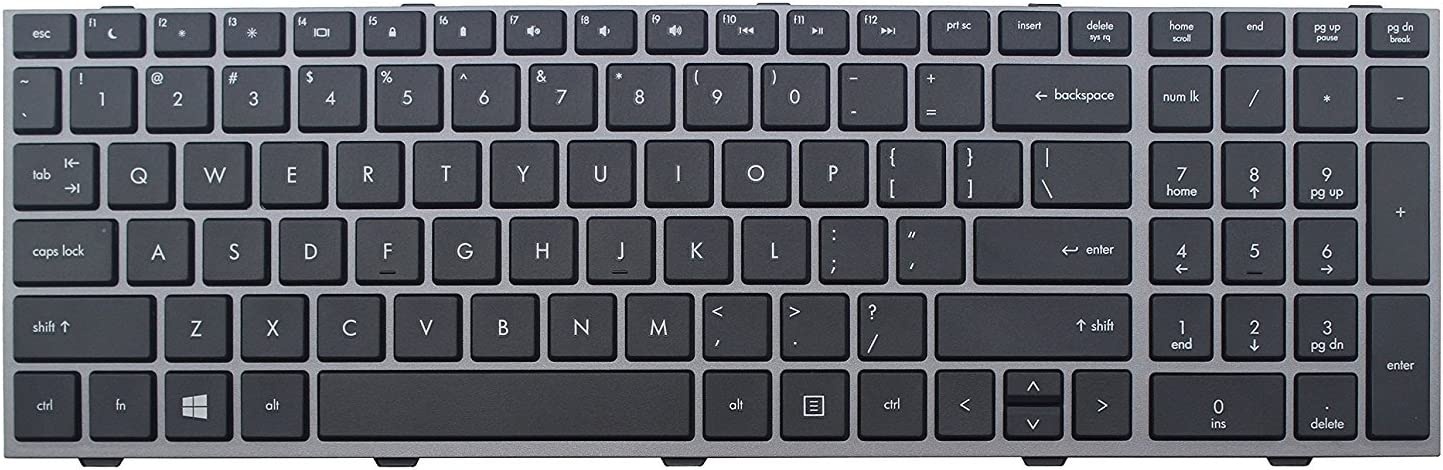 ACOMPATIBLE Replacement Keyboard for HP Probook 4540s 4545s Laptop Silver Grey Frame