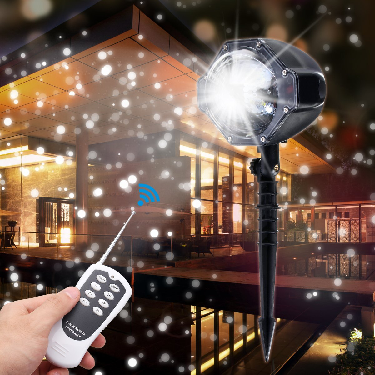 LED Projector Light, Elfeland LED Snowflake Light Landscape Motion Projection Light White Snowfall Spotlight for Wedding Holiday Dating Party Home Decoration Yard Garden (Waterproof Remote Control)