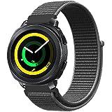 Fintie Armband für Galaxy Watch 42mm & Gear Sport & Gear S2 Classic - Premium Nylon atmungsaktive Uhrenarmband Ersatzband mit verstellbarem Verschluss, Schwarz