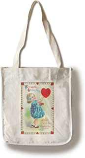 product image for Lantern Press St. Valentines Day Greetings Scene of Girl Painting a Heart (100% Cotton Tote Bag - Reusable)