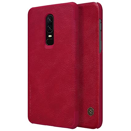 new styles c63e5 aa8ae Trueupgrade Leather Case Card Pocket Wallet Bag Protection Flip Cover for  OnePlus 6 - Red