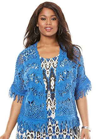 fdafa39c77969 Roamans Women s Plus Size Fringe Open-Front Cardigan - Bright Cobalt